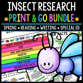 Insect Research - Print & Go Bundle - Special Education - Reading - Spring
