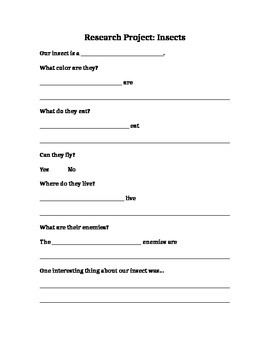 Insect Research Project and Rubric 1st Grade
