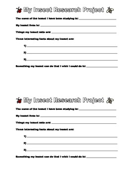 Insect Research Project for primary/early elementary w/ grading rubric!