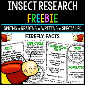 Insect Research - Special Education - Reading - Writing - Spring - FREEBIE