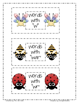 "Insect Themed Complex Consonant ""W"" Word Sort"