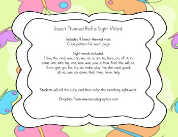 Insect Themed Roll a Sight Word Activity Sheets
