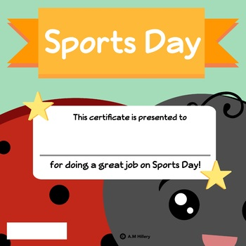 Insect Themed Sports Day Ceritifcates