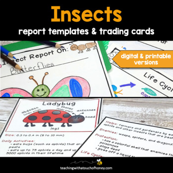 Insect Reports: Tiered Report Writing Templates and Trading Cards BUNDLE
