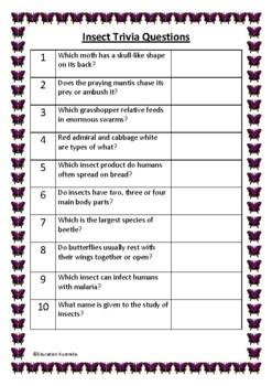 Insect Trivia Questions / Quiz - 30 Questions With Answers - Insects