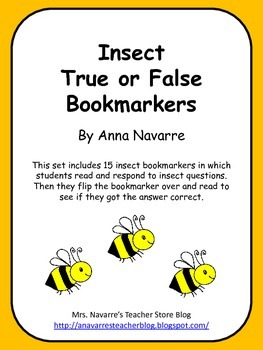 Insect True or False Bookmarkers