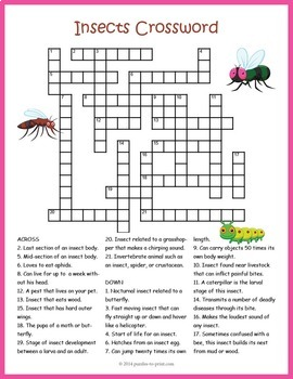 Bugs and Insects Crossword Puzzle