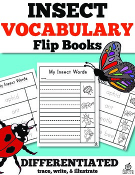 Insect Vocabulary Words Flip Book: Trace, Illustrate, and Write (Differentiated)