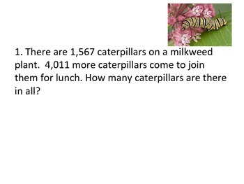 Insect Word Problems - 4 digits, No Regrouping