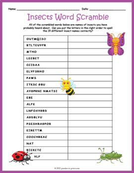 Bugs and Insects Word Scramble Puzzle
