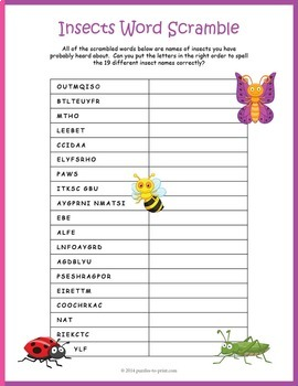 Insects Word Scramble Puzzle
