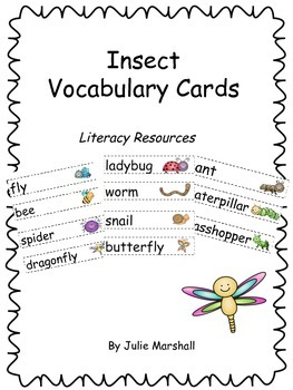 Insect Word Wall Words - English and Spanish