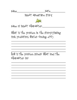 Insect adventure story graphic organizer