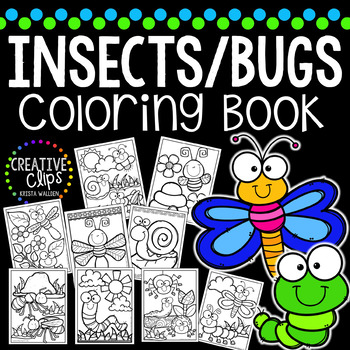 Insect and Bugs Coloring Book {Made by Creative Clips Clipart}