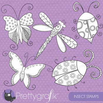 Insect stamps commercial use, vector graphics, images - DS328