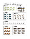 Insect theme Counting worksheets