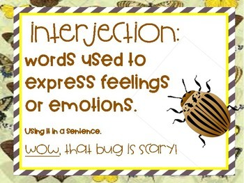 Insect theme parts of speech wall posters Grammar