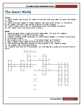 Insect world-cross word puzzle