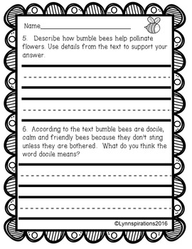 Insects Reading Comprehension Passages (5 Non-fiction)
