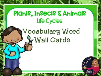 Insects, Animals, and Plant Life Cyles Vocabulary Word Wall Cards