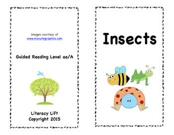 Insects Book - Guided Reading Level aa/A