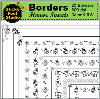 Insects Borders - Spring and Sunflowers (25 Borders)