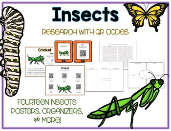 Insects & Bugs - Animal Research w QR Codes, Posters, Organizer - 14 Pack