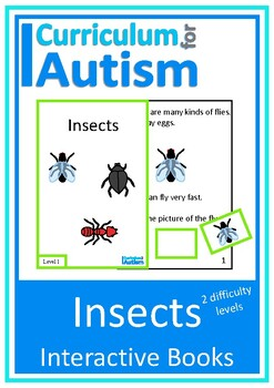 Insects Bugs Interactive Adapted Books 2 levels, Autism Sp