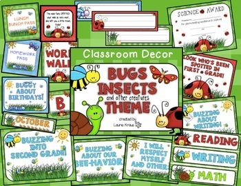 Insects Bugs Theme Bundle - Decor, Reading Posters, & Binder Covers