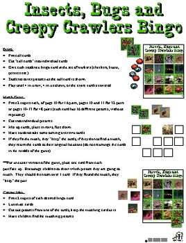 Insects, Bugs, and Creepy Crawlers Bingo:  Activity, Game
