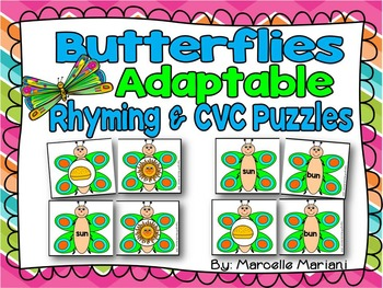Rhyming activities & CVC Puzzle Cards- Butterfly Rhyming Puzzles- Insects theme