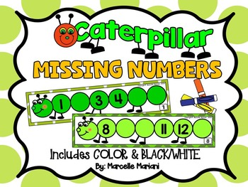 Insects- Caterpillar-Missing Numbers- Fill in the Missing Numbers- Number Strips
