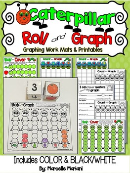Insects- Caterpillar-Roll and Cover or Graph- Math Graphing Center Activities