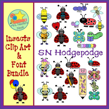 Insects Clip Art and Font Bundle