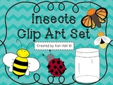 Insects Clip Art set!: Bee, Butterfly, Firefly, Ladybug, Jar: Commercial Use