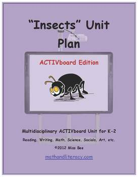 """Insects"" Common Core Aligned Math and Literacy Unit - ACTIVboard EDITION"