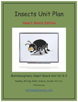 """Insects"" Common Core Aligned Math and Literacy Unit - SMARTBOARD EDITION"