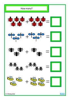 Insects Count, Sequence, Add, Subtract, Write & Wipe, Autism, Special Education