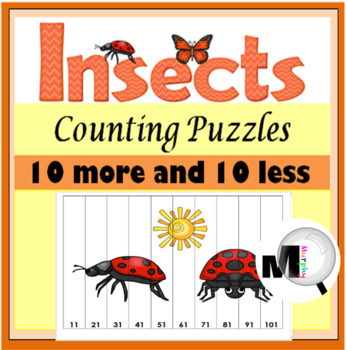 10 More 10 Less - Insects Math Puzzles