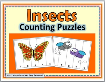 Insects Counting Puzzles Numbers 1-10