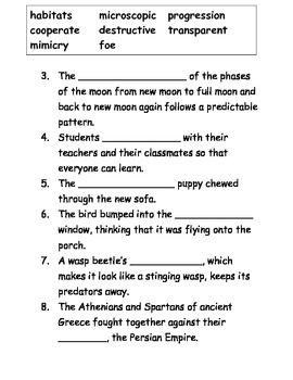 Insects Domain Context Clues Worksheet