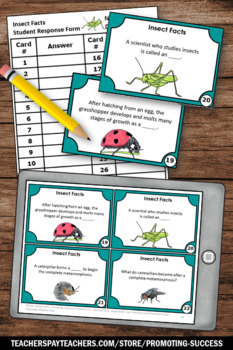 Bugs and Insects Activities with Task Cards, Supplements Insect Unit