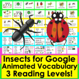 Insects:  For Google Slides Presentation:  3 Levels + Illustrated Animated Vocab