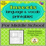 Insects Language and Vocabulary Printables for Middle School