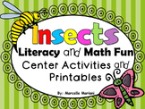 Insects, Literacy and Math Fun-Center Games and NO PREP Printables