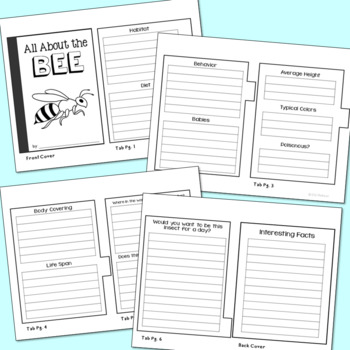Insects Mini Book Research Templates, Set of 7, Interactive Notebook