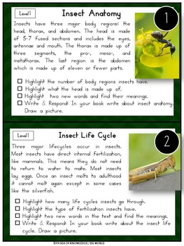 Insects Nonfiction Reading Passages