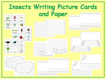 Insects Picture Cards and Paper Writing Center