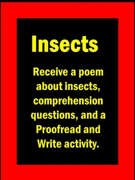 Insects Activities Poem and Literacy Packet