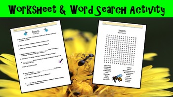 Insects Lesson with Power Point, Worksheet, and Word Search